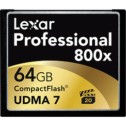 Arriendo de Tarjeta de Memoria CF Lexar 64GB 800x UDMA 7