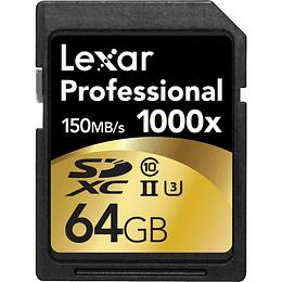 Arriendo de Tarjeta de Memoria Lexar SDxc 64GB 1000x UHS-II clase 10