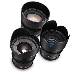 Arriendo de Maleta con 3 lentes Rokinon Cine DS EOS 24-50-85mm