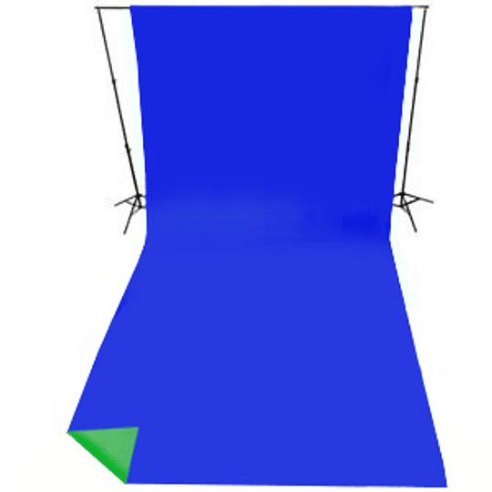Arriendo de Croma Key Lastolite Reversible Verde/Azul 3x7mt con portafondos