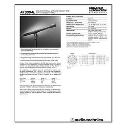 Datos Tecnicos Microfono AT8004L Audio Technica