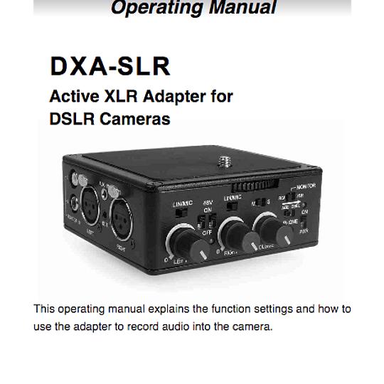 Manual Adaptador de Audio Beachtek DXA - SLR