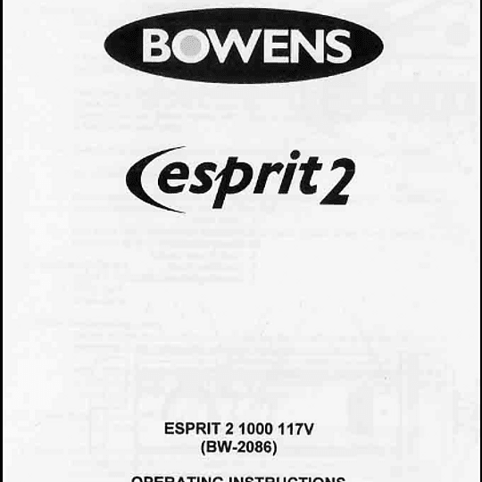 Manual Flash Bowens Esprit 1000