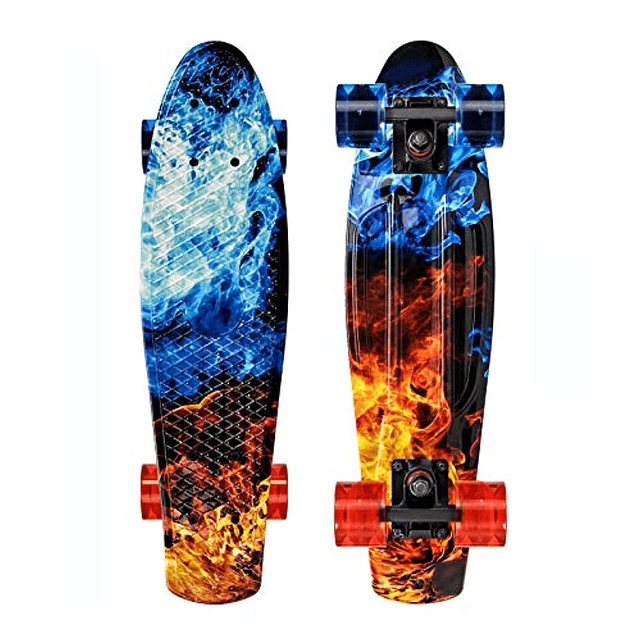OUDEW Skateboards Complete 22 Inch Mini Cruiser Retro Skateboard with Flash Wheels for Kids Boys Girls Youths Beginners