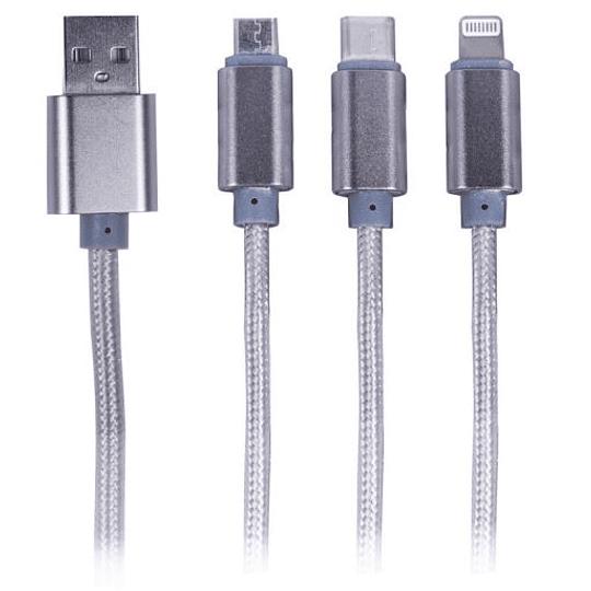 Cable 3 en 1 Philco USB mas Iphone mas C, Metálico