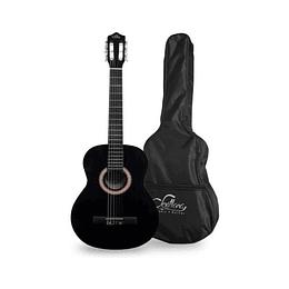"Guitarra acustica negra Sevillana con funda 39"" 8448"