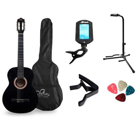 Pack de guitarra clasica negra mas accesorios