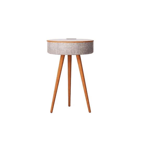 Mesa con parlantes bluetooth y carga NFC Rocking Wood Walnut