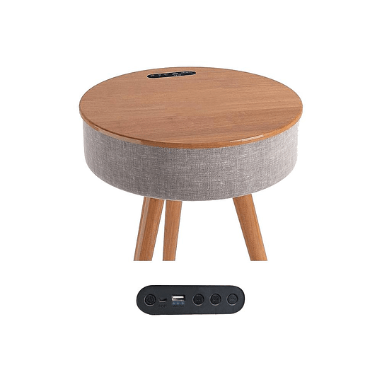 Mesa con parlantes bluetooth y carga NFC Rocking Wood Walnut