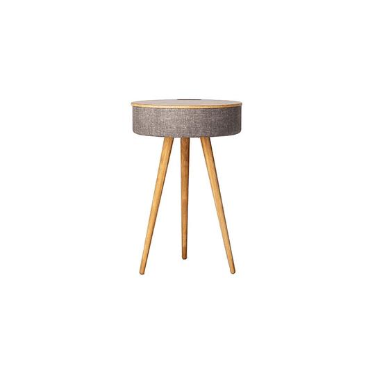 Mesa con parlantes bluetooth y carga NFC Rocking Wood Burlywood