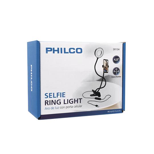 Soporte tipo clip para smartphone con aro de luz