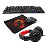 Kit gamer Monster Crew Insertion, Mouse, Teclado, Audífonos y Mousepad