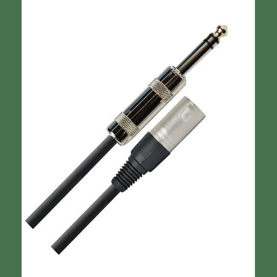 Cable XLR macho a plug 1/4 trs 3 Mts