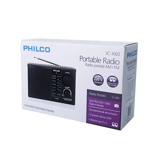 Radio portable ICX60 AM/FM/SW1/SW2 Philco