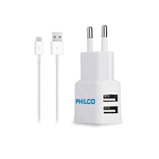 Cargador doble 2.1 USB con cable Philco R2100