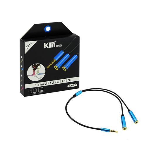 Cable 1 entrada miniplug x 2 salidas miniplug hembra 3.5mm