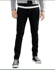 Jeans negro liso,  elasticado