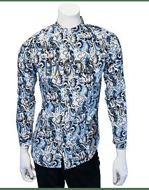 camisa cuello mao, azul diseño tribal