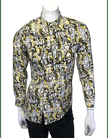 camisa cuello mao, amarillo diseño tribal