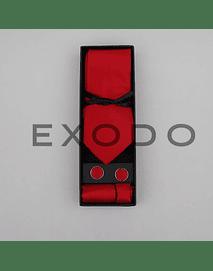 Set de corbata  delgada , color rojo