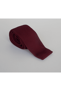 Corbata tejida burdeo