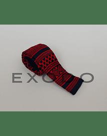 Corbata negra con diseño rojo