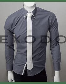 camisa gris borde en el cuello blanco, slim fit