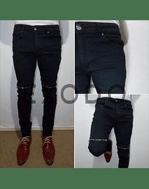 Jeans negro cierre rodilla, elasticado
