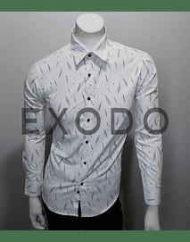camisa blanca plumas, slim fit