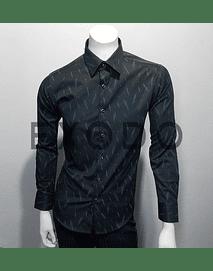 camisa negra plumas, slim fit