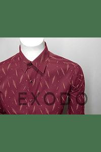 camisa burdeo plumas, slim fit