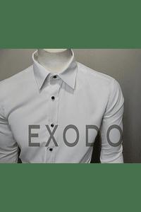 camisa blanca botones negros, slim fit
