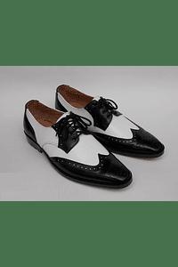 Zapatos ganster, blanco/negro, suela negra