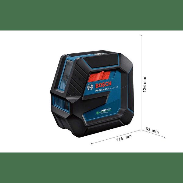 Nivel Laser de 2 linhas verdes GLL 2-15 G + Mala BOSCH