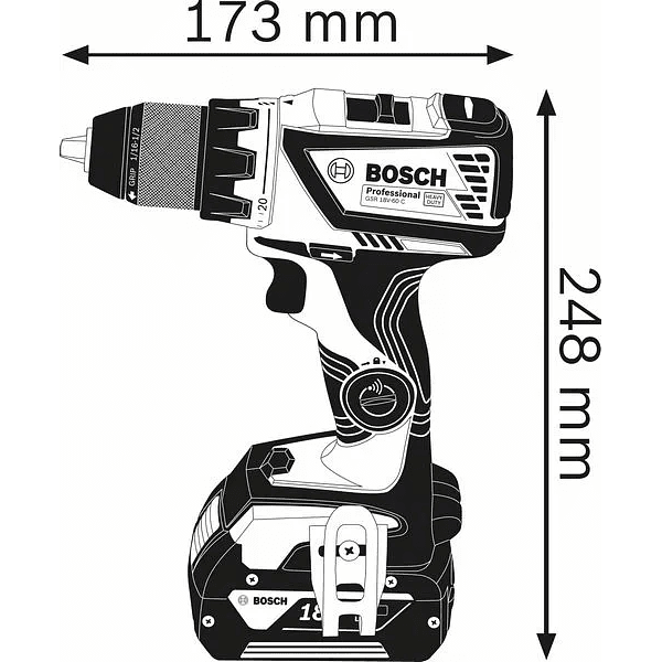 Aparafusadora sem escovas 18V GSR 18V-60 C BOSCH