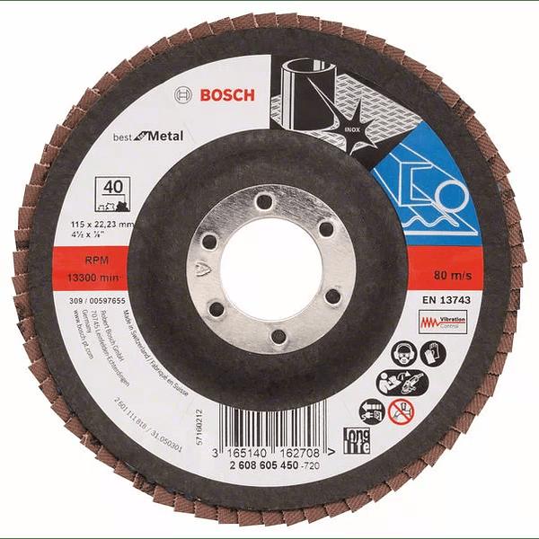 10 un. Disco de lixa em lamelas 115mm X571 Best para Metal BOSCH