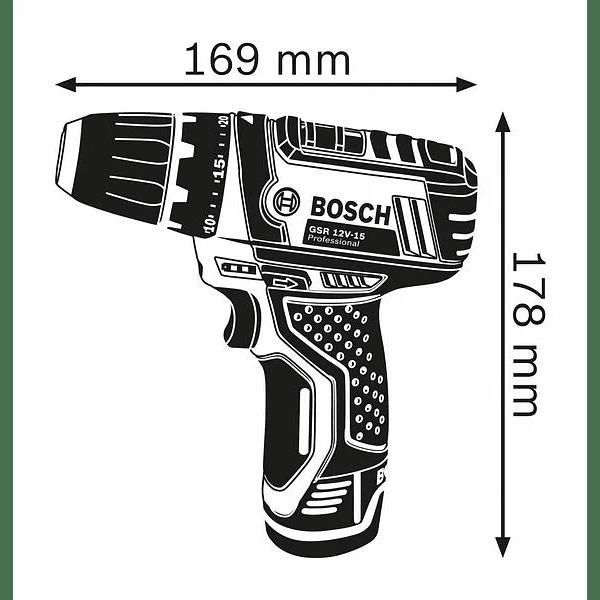 Aparafusadora a bateria 12 Volts GSR 12V-15 BOSCH + 10 Acessórios