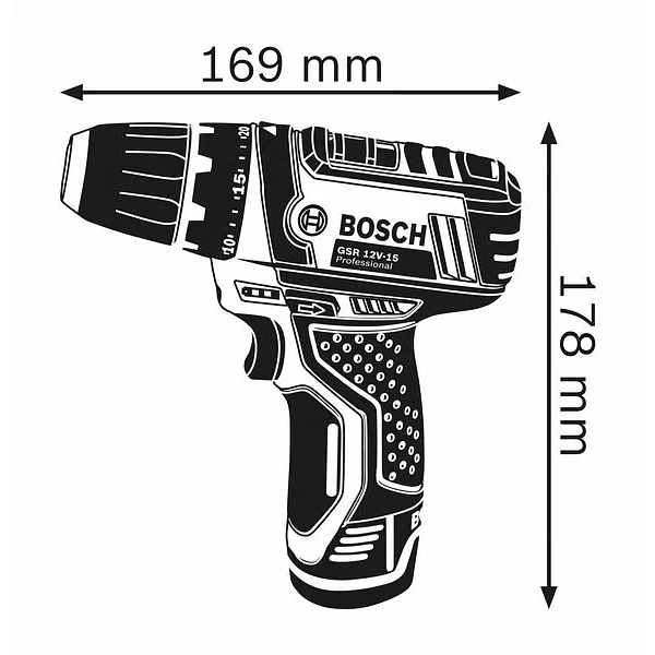 Aparafusadora a bateria 12 Volts GSR 12V-15 BOSCH + 25 Acessórios