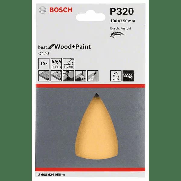 10 un. Folha de lixa 100x150mm C470 Best for Wood and Paint BOSCH