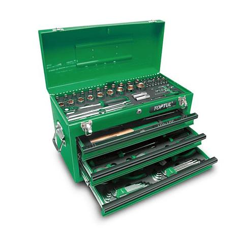 Caixa de ferramenta metálica 3 gavetas (99 peças) TOPTUL