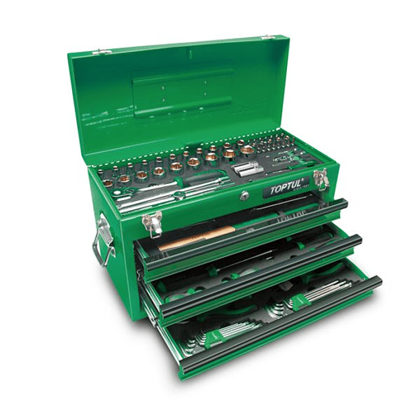 Caixa de ferramenta metálica 3 gavetas (99 peças) - TOPTUL