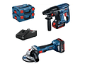 Conjunto de Martelo SDS Plus GBH 18V-21 + Rebarbadora GWS 18V-7 BOSCH