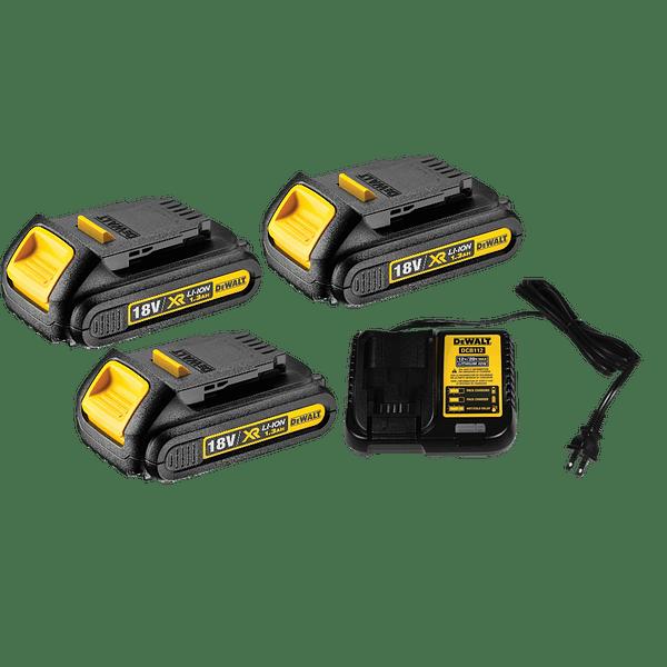 Kit XR18V Pladur Aparafusadora pladur XR18V + Berbequim com percussão 18V + 3 Baterias XR18V 1.3 Ah + 1 Carregador + Jg. Bits 32 peças DEWALT