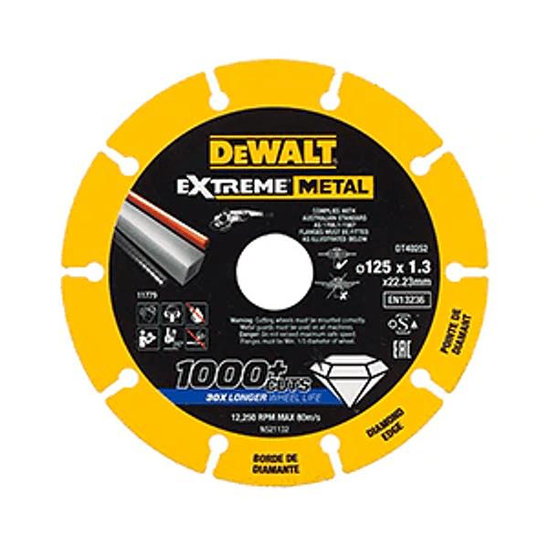 Kit 3 Discos de corte com borda de diamante Extreme Metal 125mm DEWALT + Rebarbadora acabamentos arranque suave 1400W 125mm DEWALT