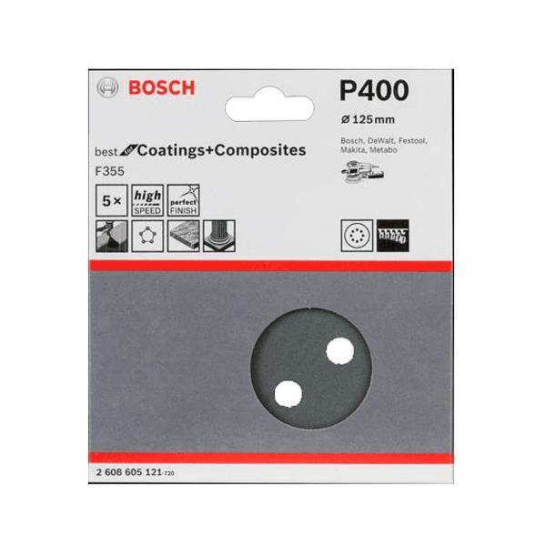 Folha de Lixa 125mm F355 BEST FOR COATINGS AND COMPOSITES BOSCH (5 Un.)