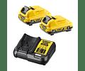Kit 2 Baterias carril Li-Lon XR 12V - 3,0 Ah DCB124 + Carregador DCB113 DEWALT