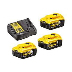 Kit 3 Baterias carril Li-Lon XR 18V - 5,0 Ah DCB184 + Carregador DCB115 DEWALT