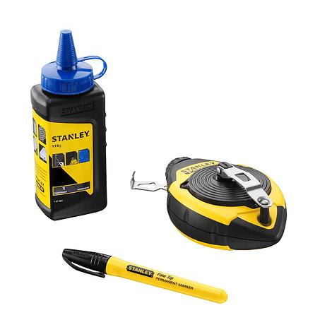 Kit Traçador de Linhas (Fio Blue) + Pó Azul + Marcador Preto 0-47-681 FATMAX STANLEY