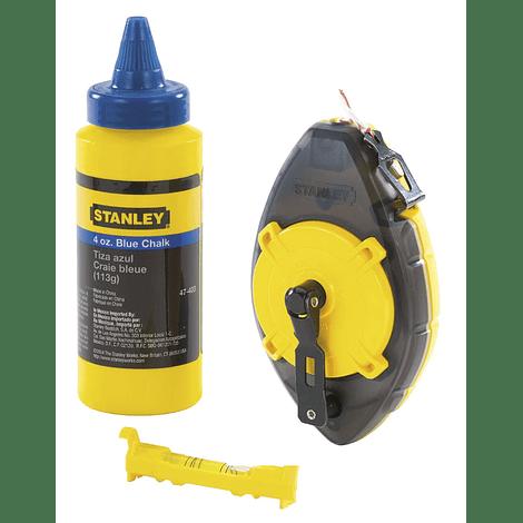 Kit Traçador de Linhas (Fio Blue) + Pó Azul + Nível 0-47-465 PowerWinder STANLEY