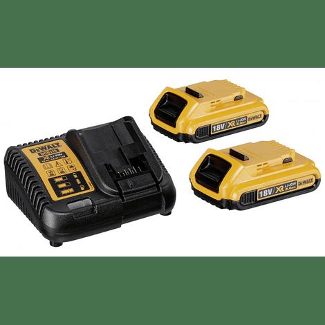 Kit 2 Baterias carril Li-Lon XR 18V - 2,0 Ah DCB183 + Carregador DCB115 DEWALT